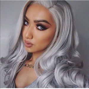 Everyday wigs silver grey lace front wig